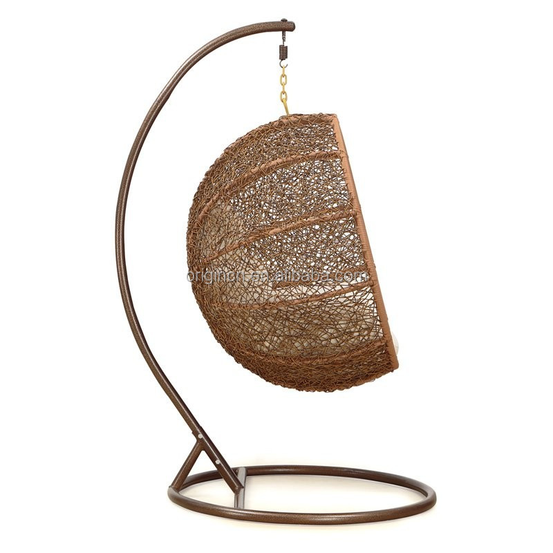 Coconut Shaped Outdoor Patio Hanging Basket Summer Rattan