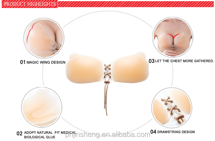 Adhesive push up sticky strapless backless invisible bra for Best adhesive bra for wedding dress