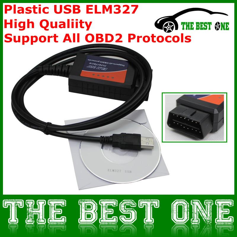 Смарт-чехол автоматического сканирования инструмент пластиковые USB ELM327 USB диагностический интерфейс OBDII OBD2 can-bus ELM 327 USB V1.5 на окнах / DOS бесплатная доставка