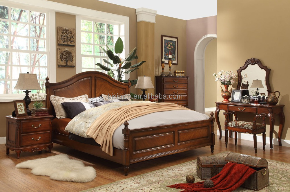 classique en bois simple chambre coucher am ricain lit. Black Bedroom Furniture Sets. Home Design Ideas