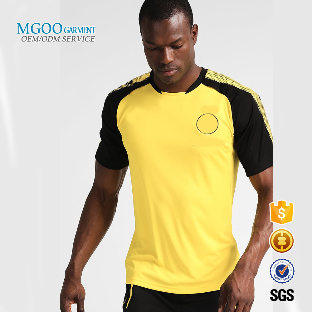 100% polyester raglan football t-shirt yellow and black custom logo dri fit shirts wholesale breathable water proof t shirt
