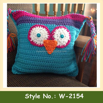 W 2154 Animal Knit Pillow Cover Knitted Owl Cushion Cover Crochet