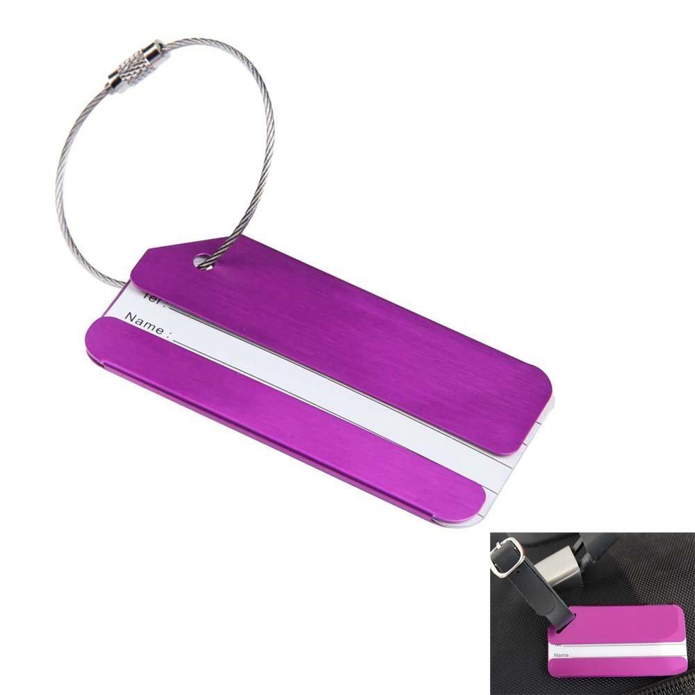 Pixnor Aluminum Travel Luggage Baggage Handbag Tag (Purple)