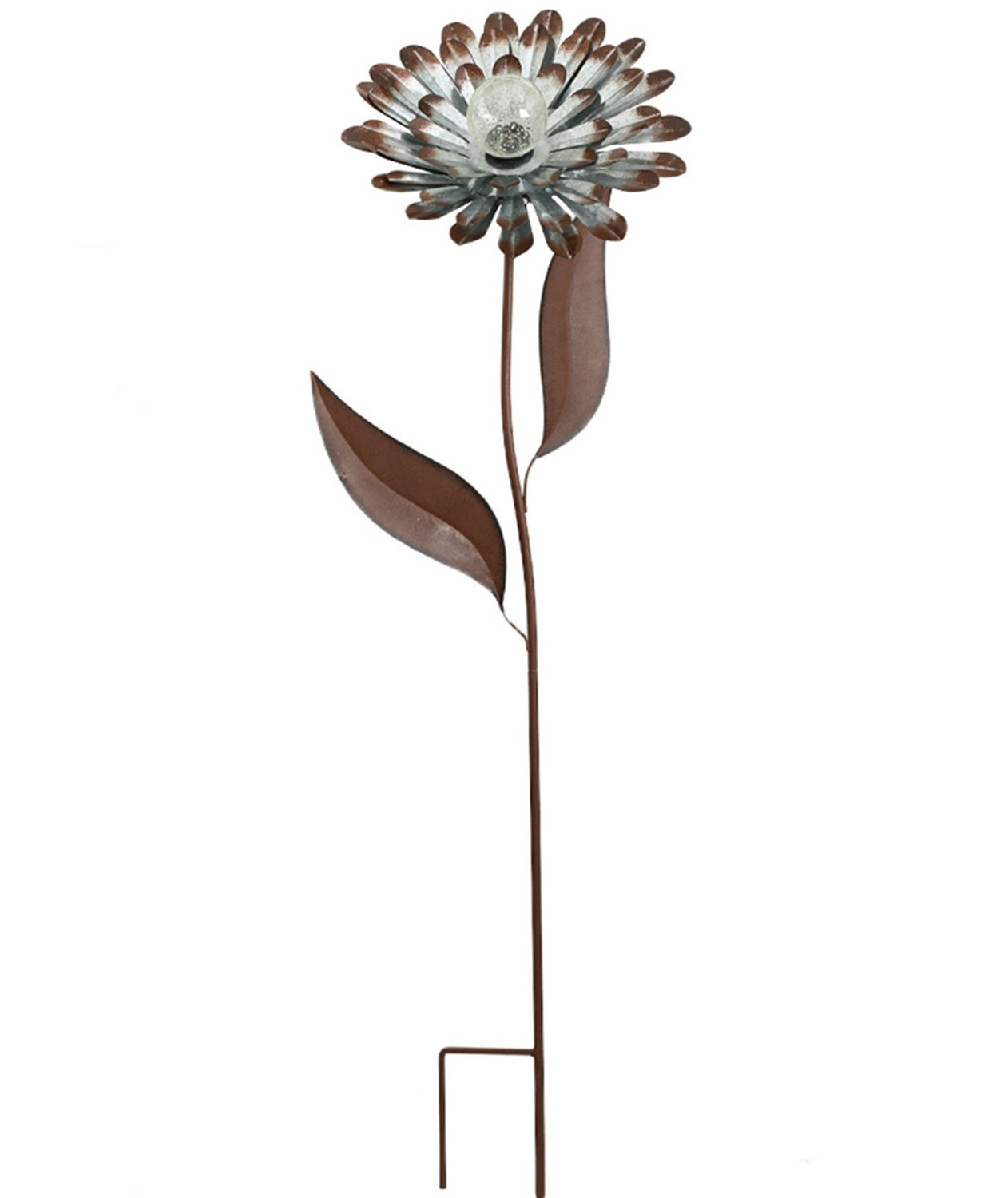 """Galvanized Floral Garden Stake Outdoor Glow in Dark Water Proof Metal Stick Art Ornament Decor for Lawn Yard Patio by CEDAR HOME, 10.5""""W x 3.25""""D x 34.5""""H, Daisy"""