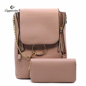 China Manufacturer Pebble Textured Convertible Backpack Satchel Wallet Set for Lady