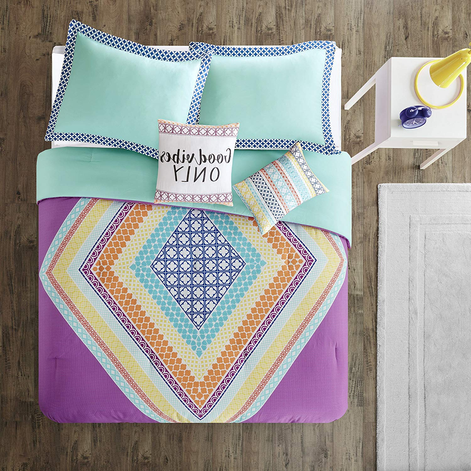5 Piece Purple Teal Orange Yellow Good Vibes Boho Chic Themed Comforter Full Queen Set, Beautiful Pastel Bohemian Motifs Bedding, Vibrant Oversized Diamond Motif Theme Pattern, Microfiber