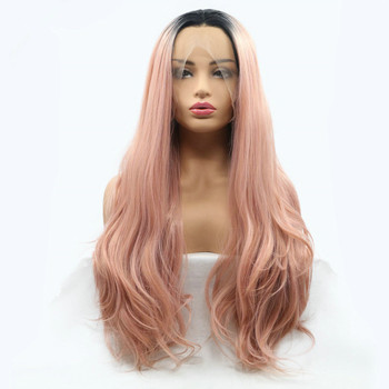 Pink Wig Natural Wave Long Hair Synthetic Lace Front Wigs for Women Ladies  New Party Style 4226935306