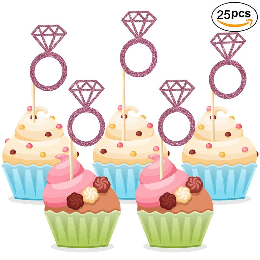 24pcs Party Favors Cake Decor Cupcake Toppers Picks Gold Glitter Ring Shape