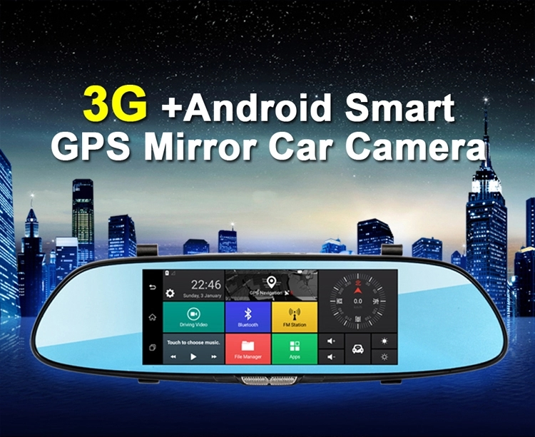 7 inch touch screen GPS navigation android 3g wifi rearview mirror car camera with gps bluetooth parking mode