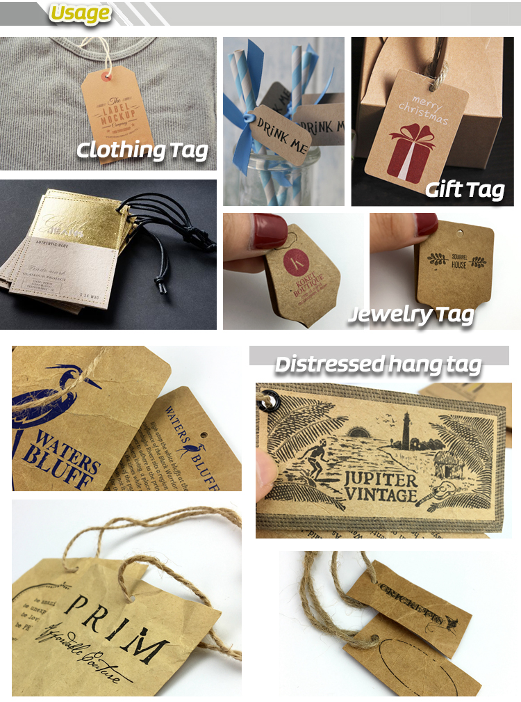 Wholesale custom shape brown kraft paper hang tags with your own design logo