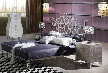 Modern bedroom metal furniture stainless steel double bed - Stainless steel bedroom furniture ...