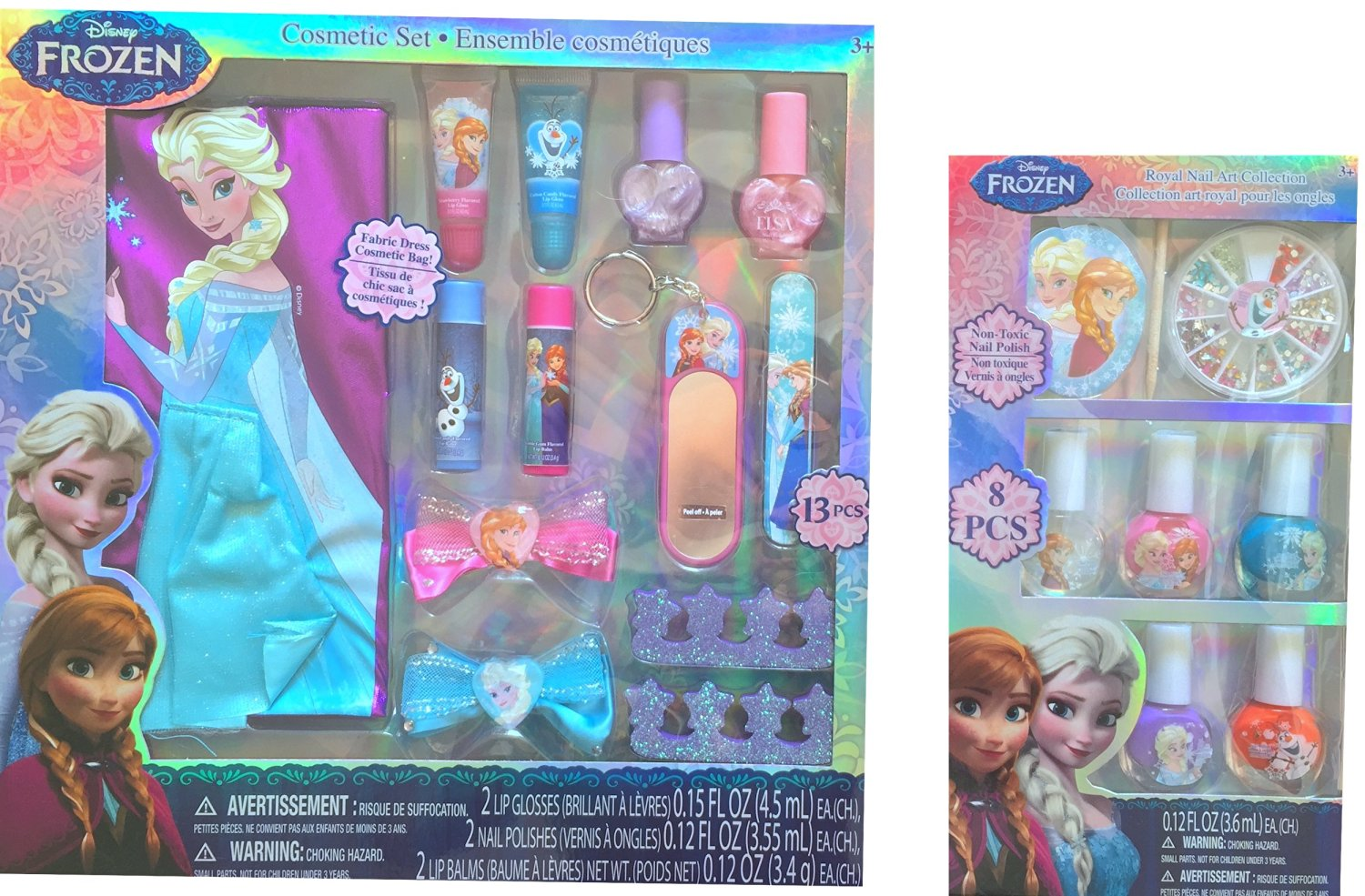 Disney Frozen Anna and Elsa Children's Cosmetic 13 Pc Set with Disney Frozen Royal Nail Art Collection Non Toxic Nail Polish 8 Pcs