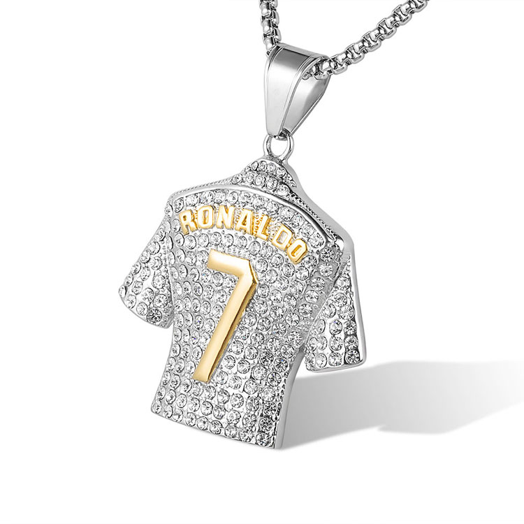 Custom Stainless Steel Hip Hop Ice Out Necklace 7 Ronaldo Shirt <strong>Pendant</strong>