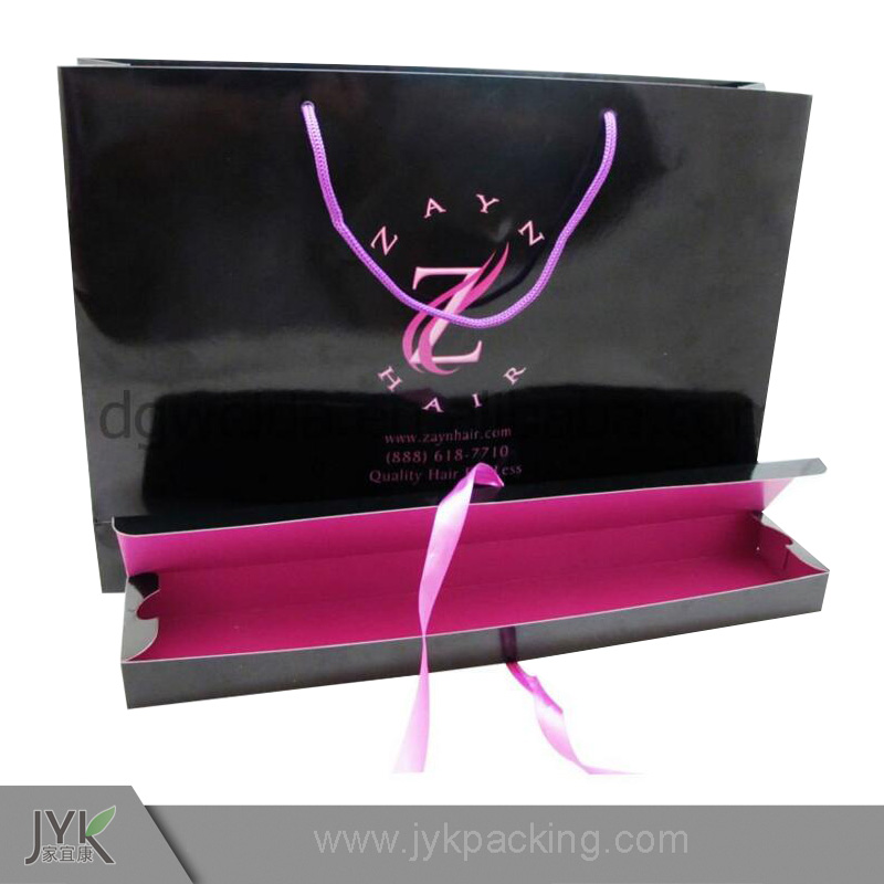 Black color printing pink logo gloss laminated hair extensions packaging bags