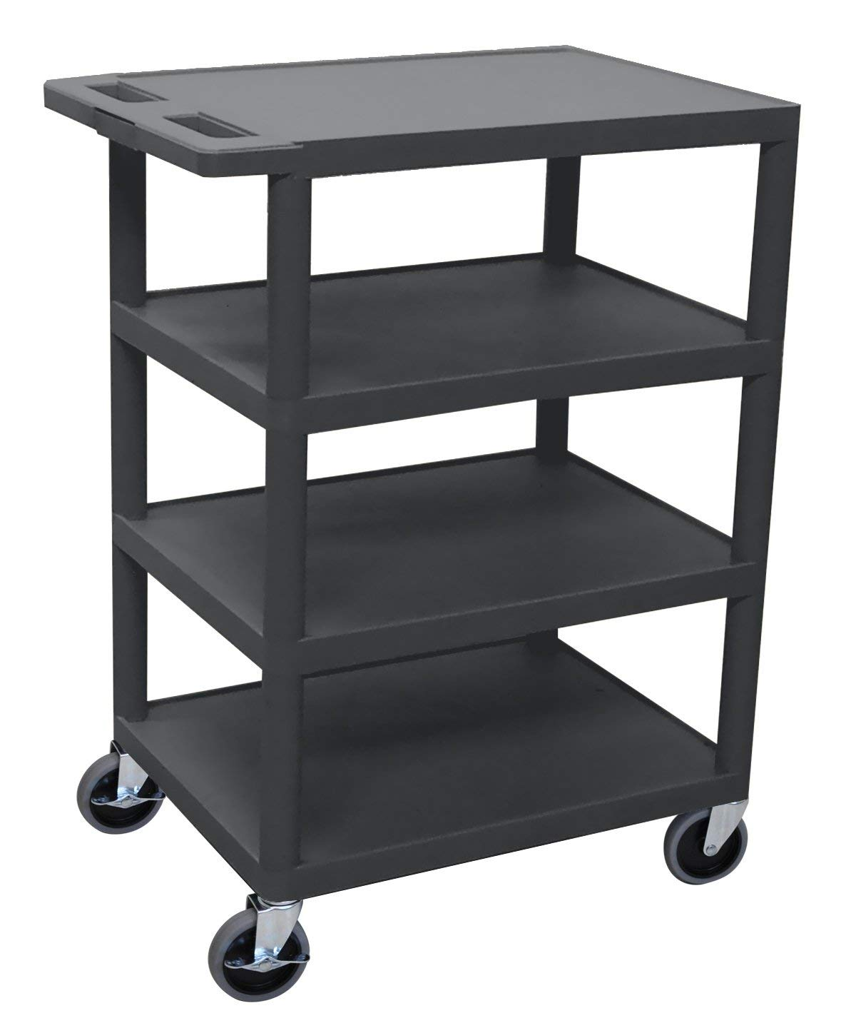 "LUXOR BC45-BU Flush-Shelf Carts, 4 Shelves, 24"""" W x 18"""" D x 36"""" H, Blue , Automotive, tool & industrial , Office maintenance, janitorial & lunchroom , Carts , Service/utility"