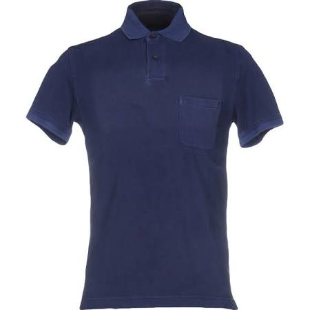 Men's dark blue quality polo shirt size L front closure button clothing