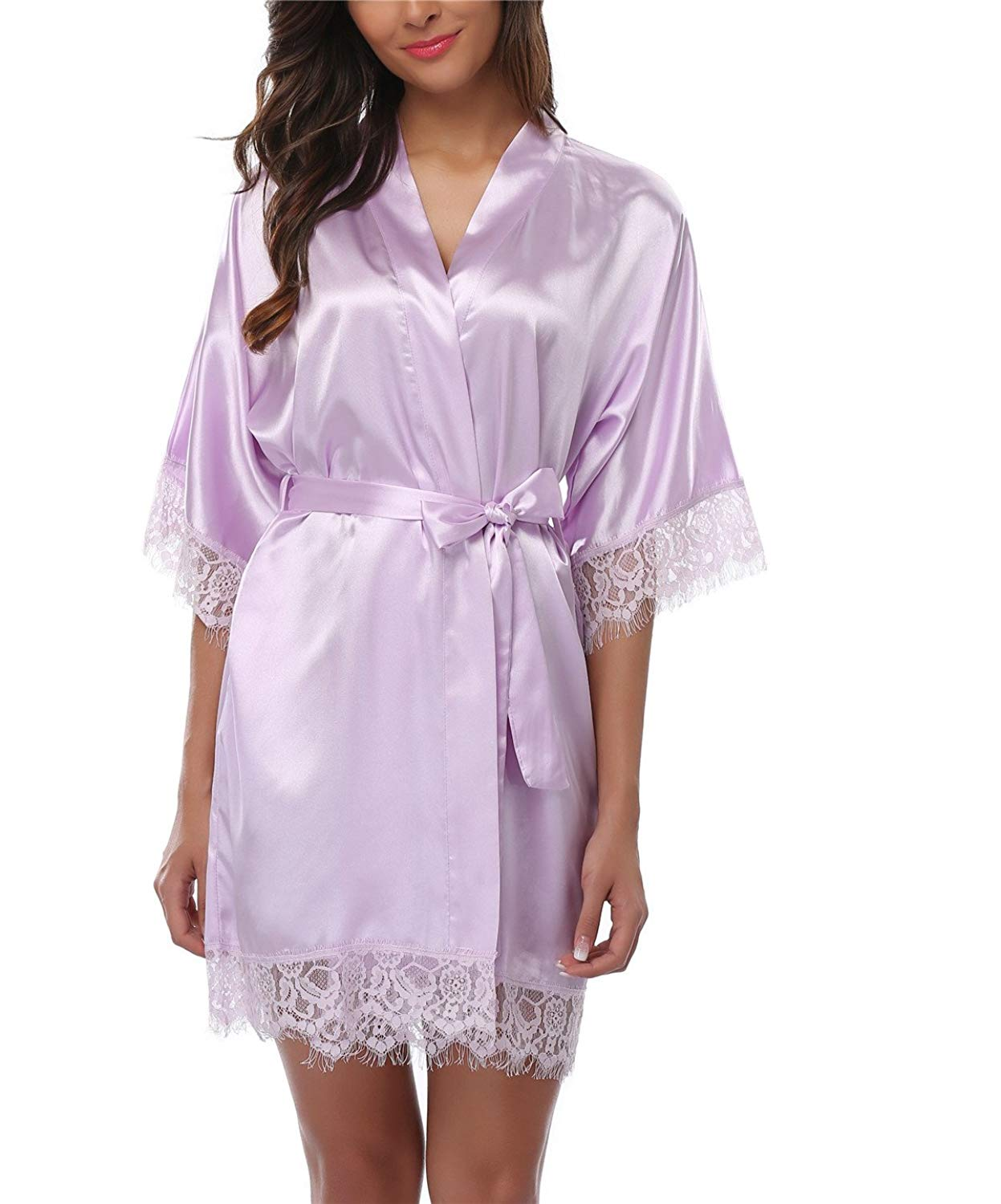 17dcc4d307 Get Quotations · FADSHOW Women s Satin Robes Lace Trim Short Kimono  Bathrobes Silk Nightwear Wedding Party Robes
