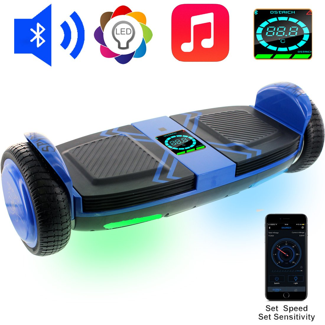 OSDRICH A8 Hoverboard with Bluetooth Speaker Self Balancing Scooter , LED Lights, Smart App Control (UL 2272 Certified)