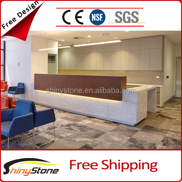 Top overhang lighting designed acrylic solid surface reception furnitures spa