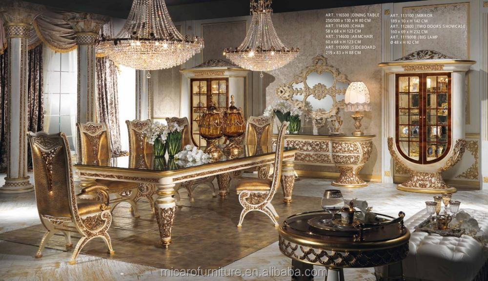 2016 New Design Baroque Style Brass And Wood Solid Classic Italian Dining Room Sets