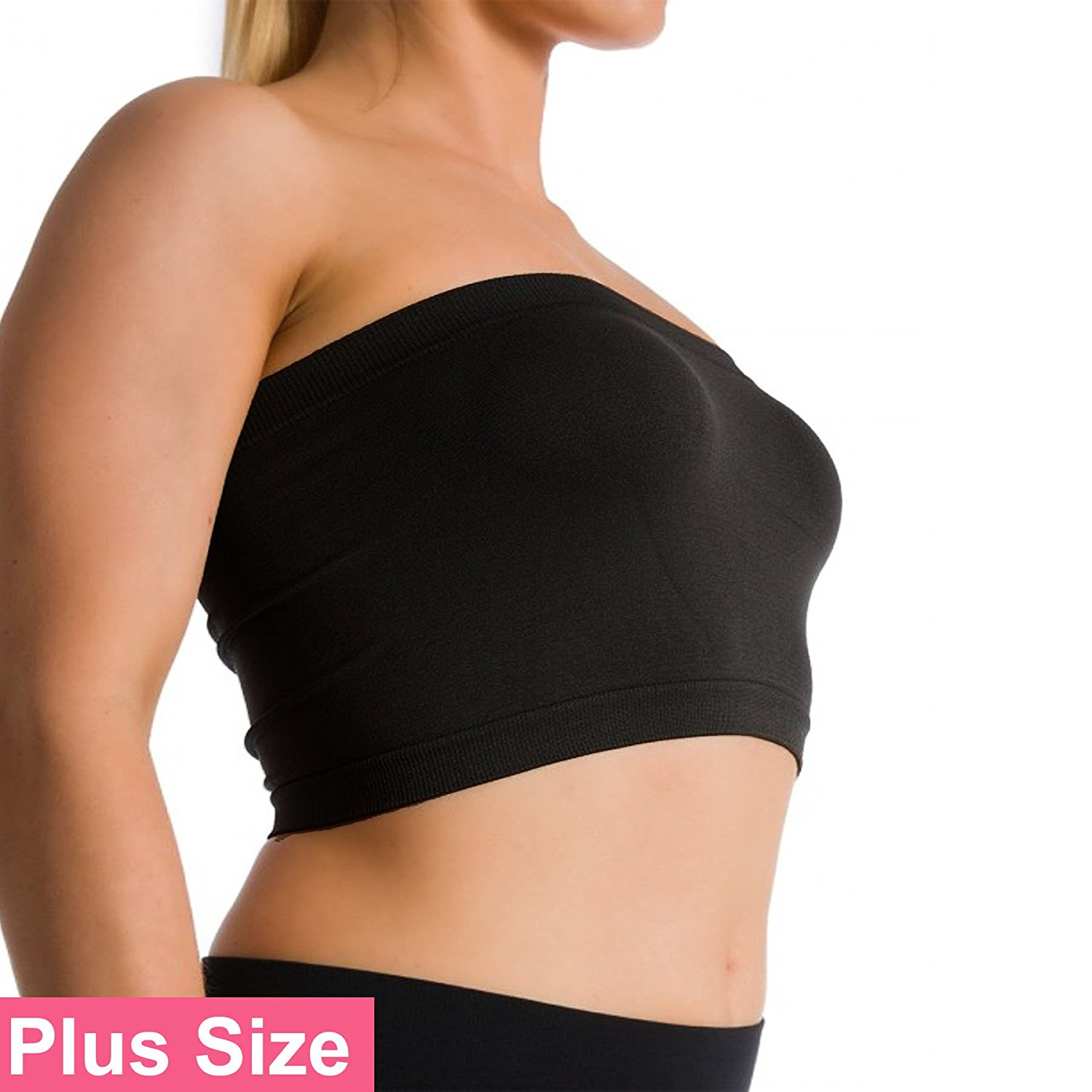 182df0e96eb Get Quotations · Ekimo T-USA Plus Size Seamless Strapless Bandeau Bra Tube  Top Sports Bra Yoga XL