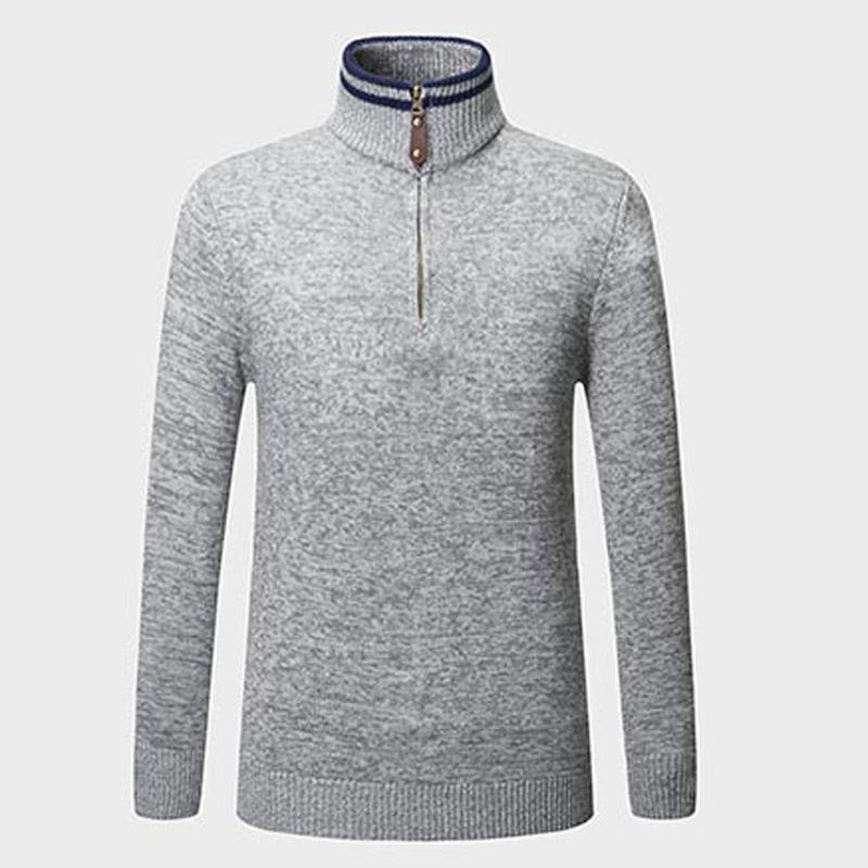 Men Sweater Blouse Winter Zipper Stand Collar Pullovers Knitwear