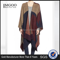 MGOO Fashion Style OEM European Poncho For Women Long Colorblock Cape Women Crochet Cotton Cardigan