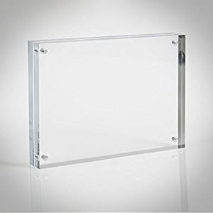 Clear Acrylic Picture Frame; Magnetic Acrylic Photo Frames, Thick Desktop Frames (6x8)