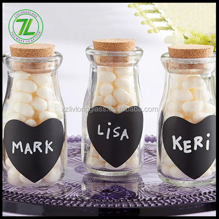 custom design 100ml 180ml mini glass favor jars 6oz 3oz milk glass bottle with cork stopper