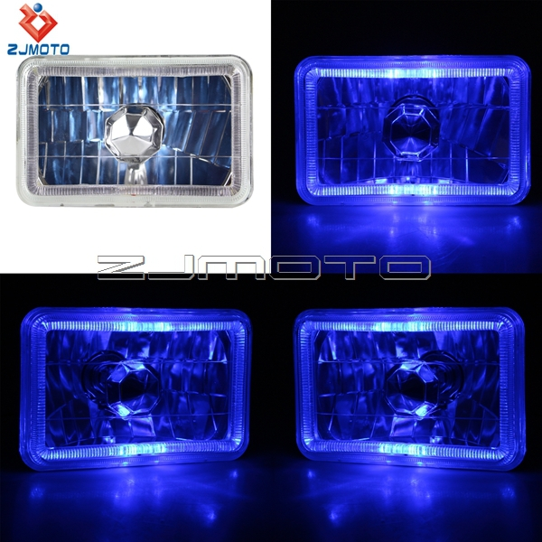 Police Led Lights >> Square Unique H4 Super White Light 55 - Wt 4*6 Crystal Led Headlight W Blue Demon Eye Halo For ...
