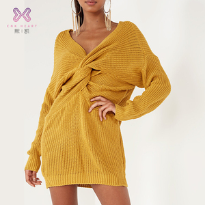 2019 designs new arrival cashmere western style long woman sweater dress