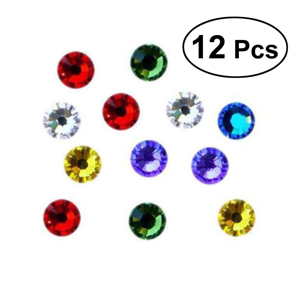 OUNONA 12pcs Multicolor Crystal Magnetic Wine Glass Charms Drinking Mark Markers for Wine/Champagne/Beer and Cocktail Glass