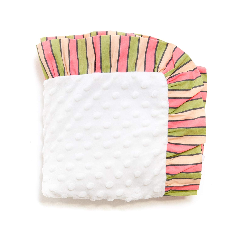 d8a9de16af16b TN 1 Piece Baby Girls Pink Green Striped Crib Blanket, Newborn Orange  Chenille Dots Nursery