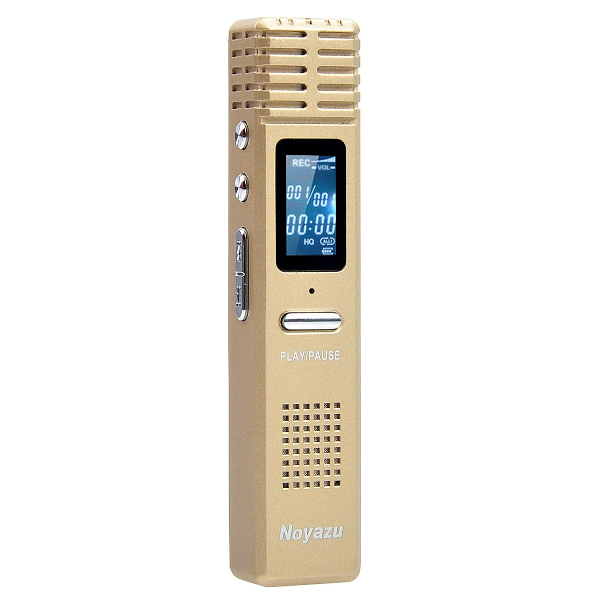Noyazu X1 HD Digital Voice Activated One-Touch Voice Recorder Audio Dictaphone Rechargeable MP3 Player Flash Drive with 16 GB for Classes Lectures Meetings Notes (Gold)