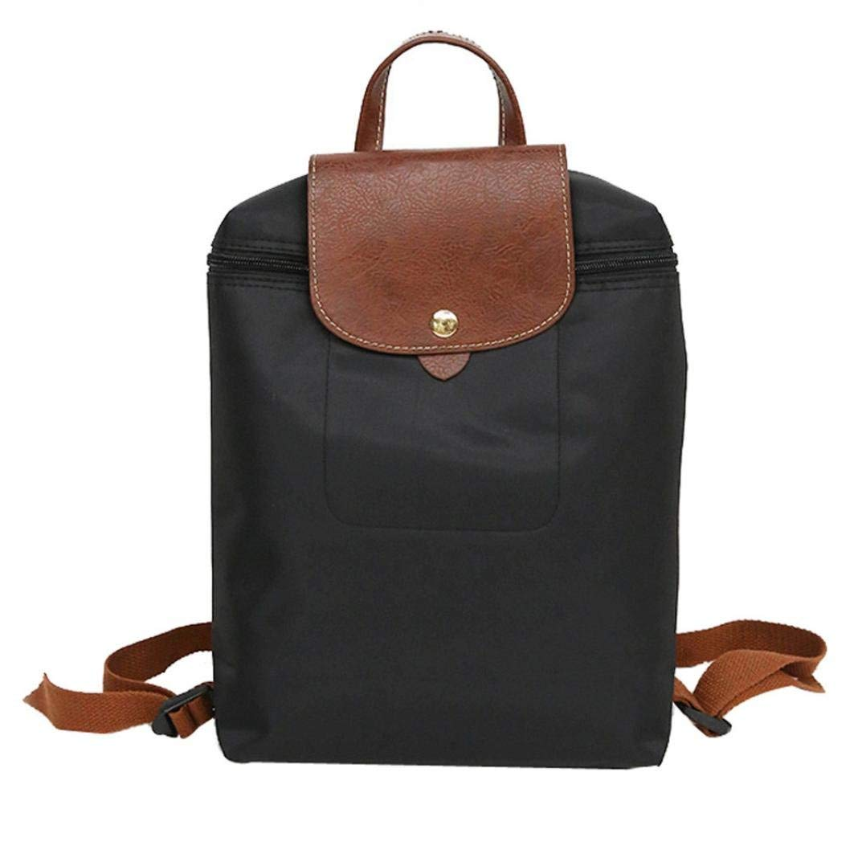 Mysky Leisure Nylon Travel Leather Patchwork Zipper Bag Teenager College Student Shoulder Backpack Folding Bag