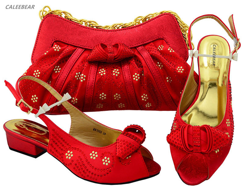 shoes ladies Italian with bag evening Color Wedding set and For bags women matching Red shoes shoes AEtqwS