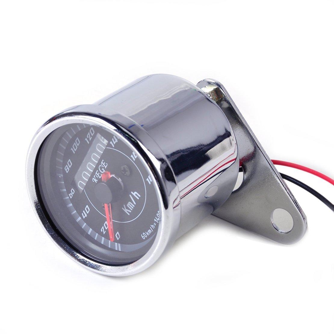 uxcell Universal 12V Motorcycle LED Backlight Dual Odometer Speedometer Gauge Meter