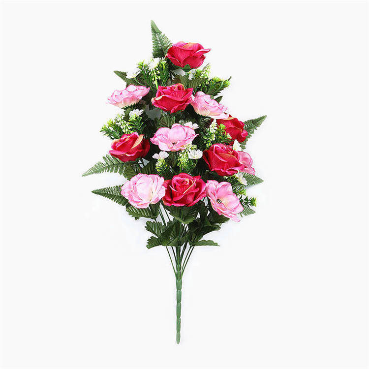 Wholesale Memorial Silk Flowers Red Rose Mix Pink Artificial Flower