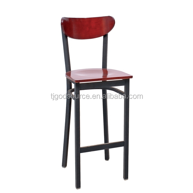 Modern Design Restaurant Furniture Iron Bar Chair With Wood Seat