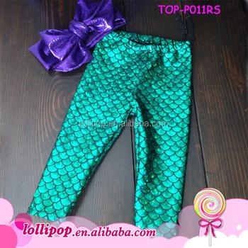 6b24577f68c4c 2016 Fashion green fish scale mermaid tail baby girls capri legging mermaid  capri pants for kids