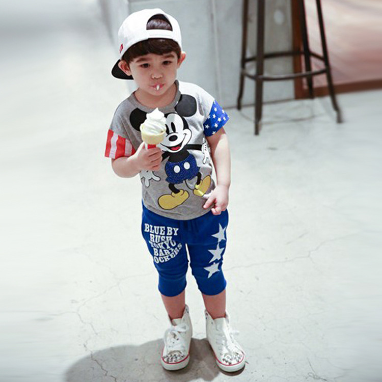 Children Clothing set 2016 New minnie Baby Girls Boys Clothes Sets 95 Cotton cartoon Short Sleeve
