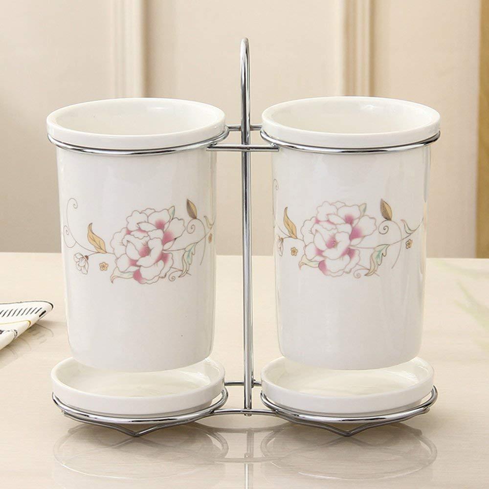 Korean style Kitchen simple ceramic chopsticks tube dual cylinder storage chopsticks cage drain chopsticks rack (KT020)