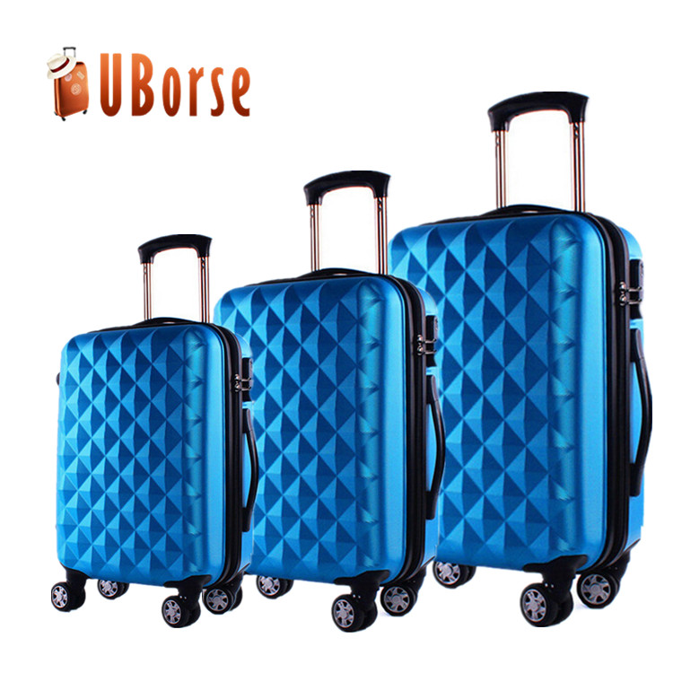 "Hard shell light weight trolley suitcase, 3pcs 20"" 24"" 28"" travel luggage set, abs travel luggage"