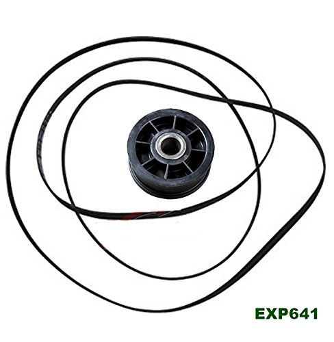 (EXP641) Dryer Belt & Idler Pulley Roller Set Replaces WPY54414, WP40111201, PS11742271, PS11757553, AP6009126, AP6024203, Y54414, 40111201