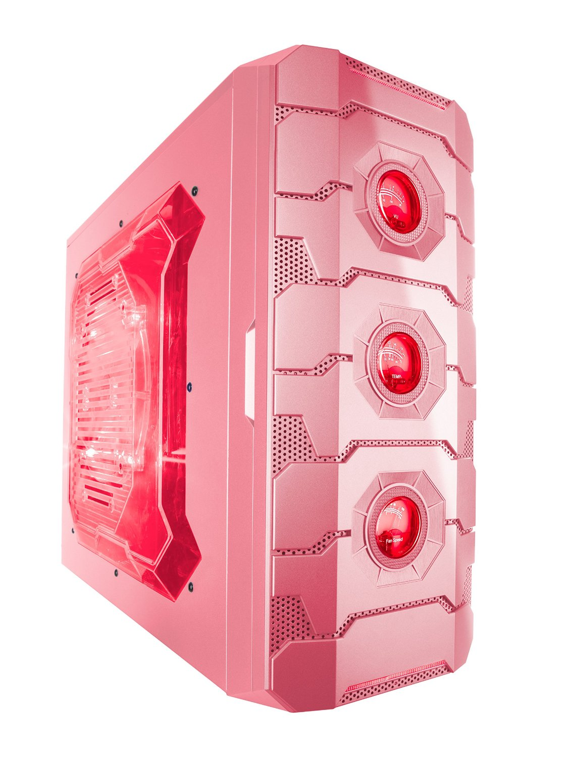 Apevia X-CRUISER3-PK ATX Mid Tower Gaming Case with 5 Fans, Large Side Window, USB2.0/USB3.0/HD Audio Ports, Fan Speed Controller, Colored VU/Temp/Fan Speed Gauges, up to 7 x Cooling Fan Space - Pink/Red