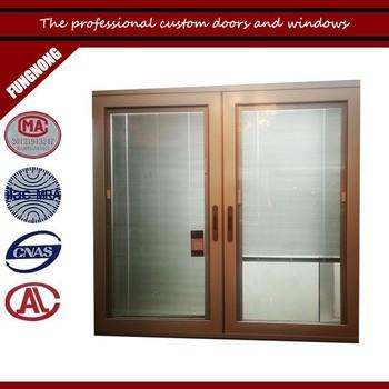 Low Cost Aluminum Sliding Glass Door Window Designs With Blinds Inside