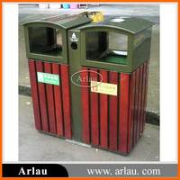 High quality outdoor double garbage can garden wooden trash bin