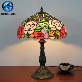 Flower Antique Bronze Tiffany Style Lamp Metal Base Glass Mosaic Lamp Shade