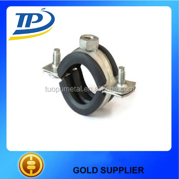 Hot Sale Heavy Duty Pipe Clamps Electro zinc plated Supporting Rubber Hose Clamps Made In China