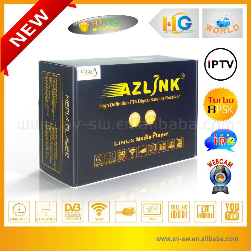 Hua Gang media player for north america Azlink <strong>hd</strong> s1 dvb-s2 <strong>mpeg4</strong> <strong>hd</strong> <strong>receiver</strong> <strong>satellite</strong> enigma 2 linux
